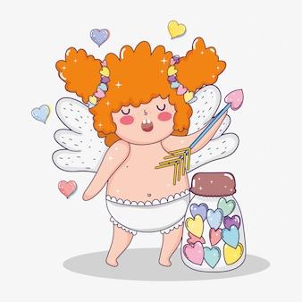 Saint valentin et cupidon avec une flèche et une bouteille de bonbons