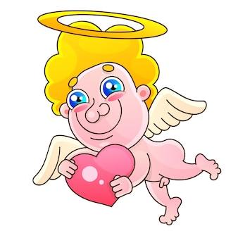 Saint valentin avec cupidon en papier découpé. illustration vectorielle