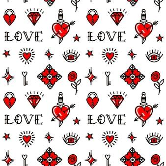 Saint valentin dans le modèle sans couture de style old school. illustration vectorielle. conception pour la saint-valentin, échasses, papier d'emballage, emballage, textiles
