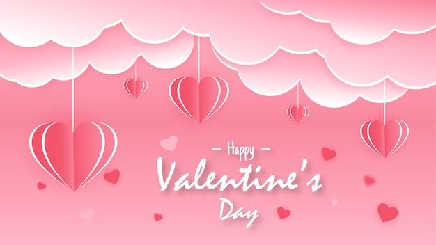 Saint valentin dans un style papier moderne