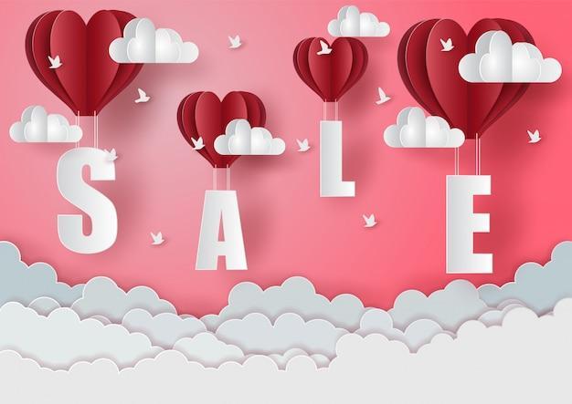 Saint valentin dans les ventes avec du papier découpé