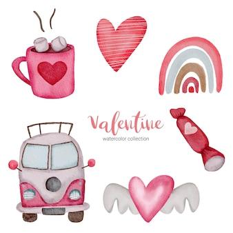 La saint-valentin définit des éléments arc-en-ciel, bus, chocolat et plus encore.