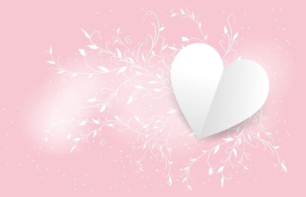 Saint valentin avec du lierre blanc sur un rose, saint valentin, mariage