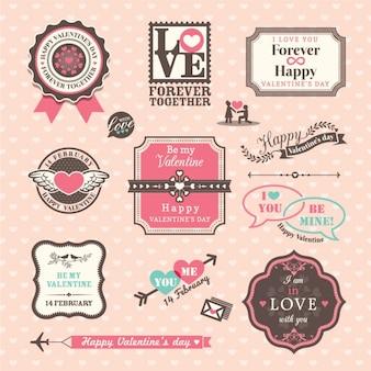 Saint valentin éléments des étiquettes et des cadres de style vintage