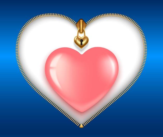 La saint-valentin en février. fermeture éclair en forme de coeur avec serrure et trou de serrure, couleur or, avec un coeur rose.