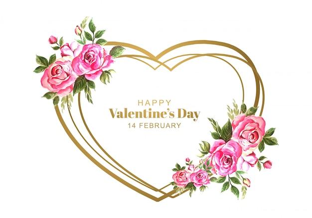 Saint valentin avec fleurs décoratives
