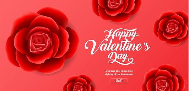 Saint valentin, fond de roses rouges, bannière de vente, coeurs, illustration vectorielle.