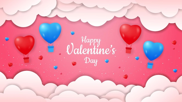 Saint valentin avec forme de ballons à air chaud réaliste