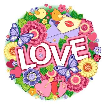 Saint valentin forme ronde faite de fleurs abstraites papillons oiseaux s'embrassant et le mot amour