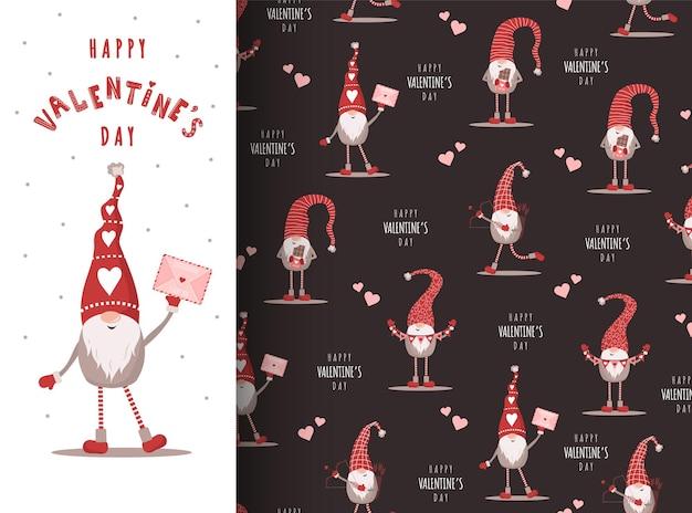 Saint valentin avec gnome au chapeau rouge. elfes scandinaves sur modèle sans couture.
