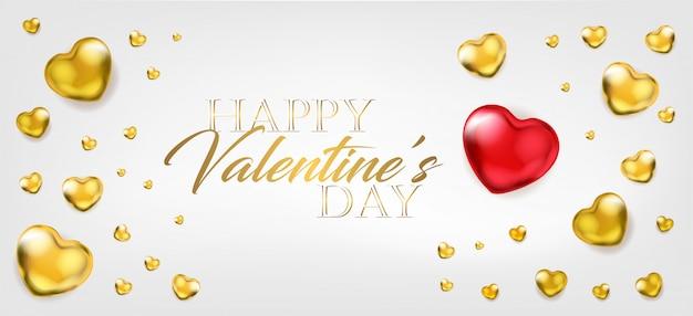 Saint valentin avec de gros ballons rouges et des cœurs dorés