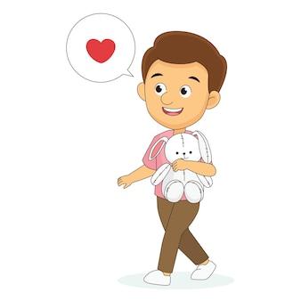 Saint valentin, homme marchant et tenant un lapin en peluche