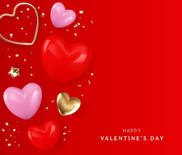 Saint valentin avec illustration de coeur et ruban or style plat