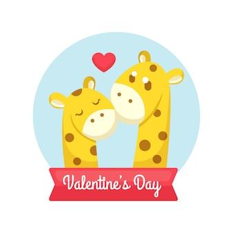 Saint valentin avec illustration de couple girafe