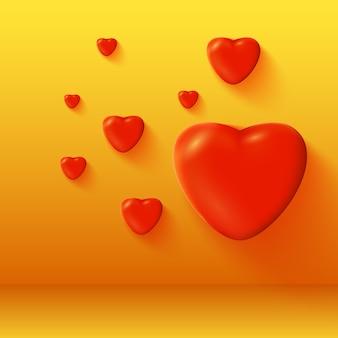 Saint valentin avec illustration vectorielle romantique 3d coeurs rouge vif isolé