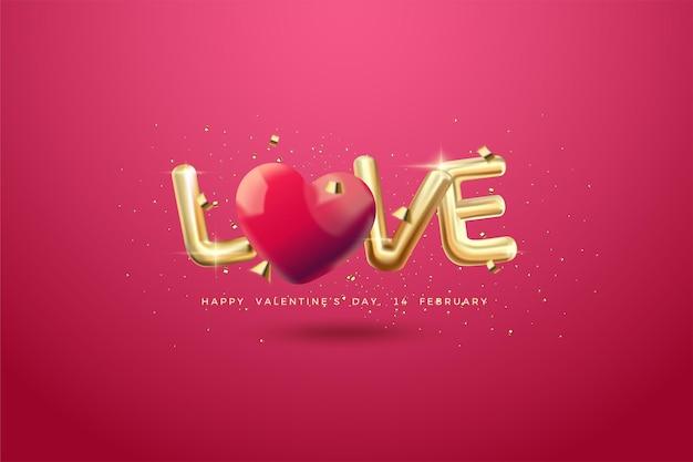Saint-valentin avec l'inscription de ballons d'amour en or.
