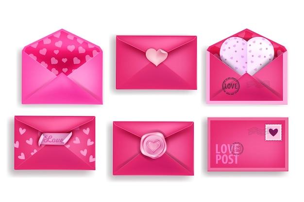 Saint valentin lettres d'amour 3d sertie d'enveloppes de vacances roses ouvertes et fermées, cartes postales en forme de coeur. collection de messages électroniques d'amour romantique isolée sur blanc. illustration de voeux lettres d'amour