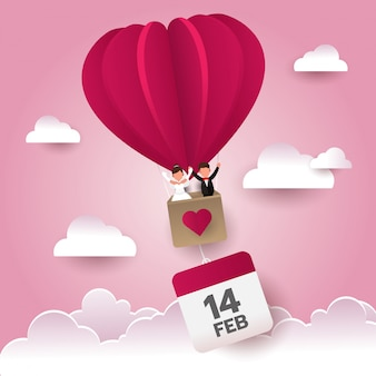 Saint valentin mariage heureux dans la montgolfière dans le ciel avec icône de calendrier, saison des amoureux