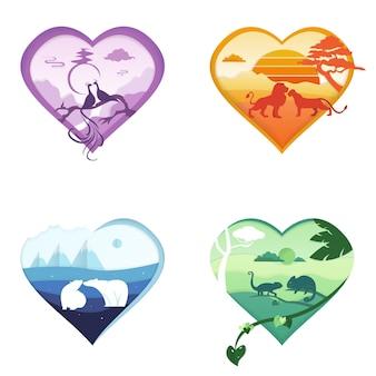 Saint-valentin mignonne pour la saint-valentin avec des animaux, des cartes lumineuses en forme de coeurs