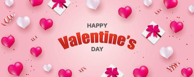 Saint valentin, modèle de bannière. coffret surprise avec ruban glod et ballon coeurs,