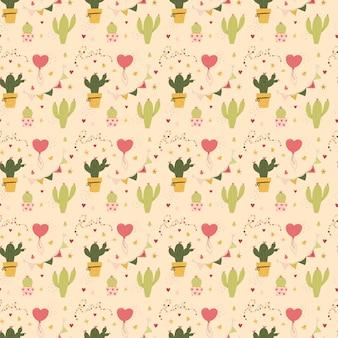 Saint-valentin modèle sans couture cactus et coeurs