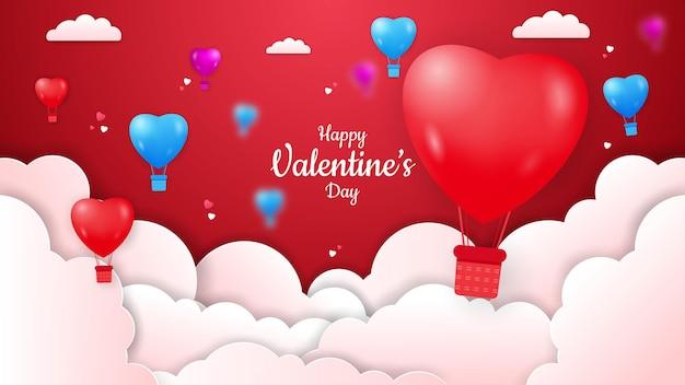 Saint valentin avec montgolfières et cloud