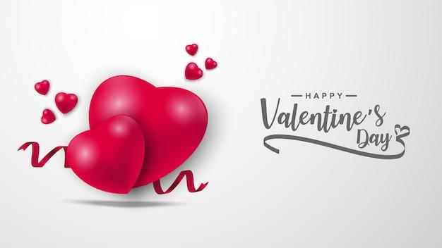 Saint-valentin avec motif d'icône de coeurs. coeurs de la saint-valentin sur fond rouge flottant avec les salutations de la saint-valentin.
