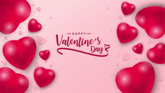 Saint-valentin avec motif d'icône de coeurs. coeurs de la saint-valentin sur rose flottant avec les salutations de la saint-valentin.