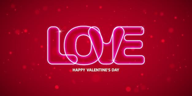 Saint-valentin neon texte sur fond.
