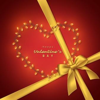 Saint valentin avec noeud doré et coeur de guirlande, texte de paillettes.