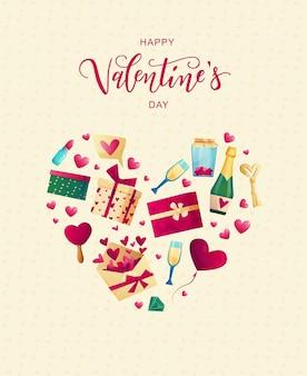 Saint-valentin objets mignons et éléments pour cartes. texte de lettrage à la main.