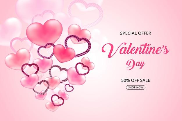 Saint valentin offre spéciale vente coeur doux réaliste, promotion et shopping bannière rose ou fond