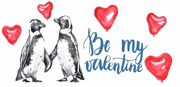 Saint valentin avec des pingouins