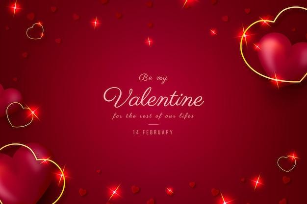 Saint valentin réaliste avec des coeurs dorés