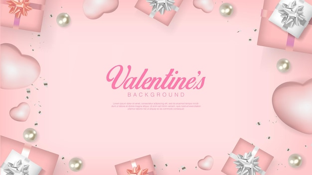 Saint valentin réaliste. coeurs romantiques, perles, coffret cadeau et confettis. flatlay
