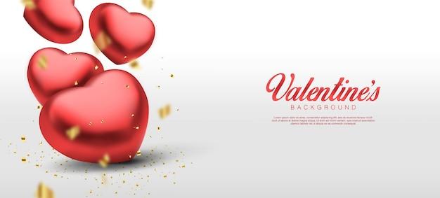Saint valentin réaliste. coeurs rouges 3d romantiques tombant des confettis