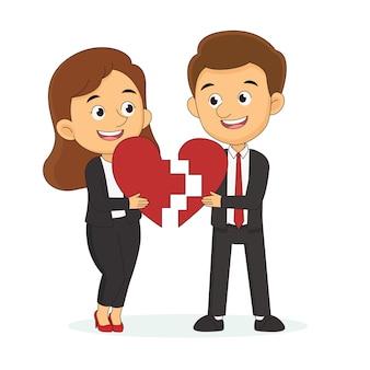 La saint-valentin. remplissez l'amour. les hommes et les femmes se donnent du cœur