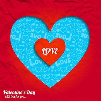 Saint valentin romantique avec coeur coupé de l'illustration vectorielle de papier froissé rouge