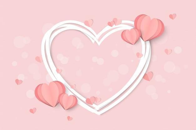 Saint valentin rose avec forme de coeur
