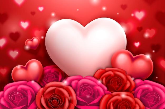 Saint valentin avec des roses et des décorations en forme de coeur en illustration 3d