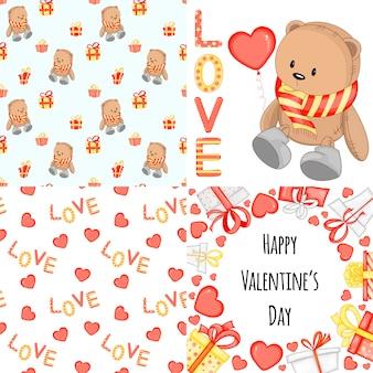 Saint valentin sertie de carte postale, motif et modèle.