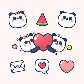 Saint valentin sertie de panda mignon avec coeur doux, avec amour vous carte de voeux sticker