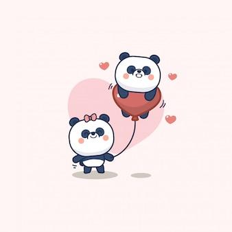 Saint valentin sertie de panda mignon avec coeur doux, avec amour vous carte de voeux