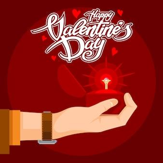 Saint valentin texte avec un cadeau précieux à la main.