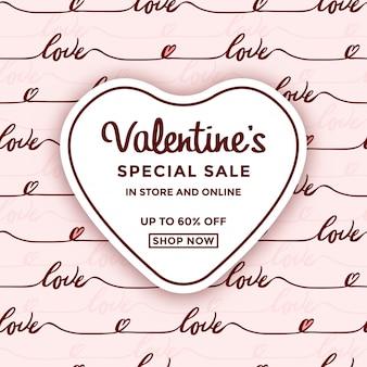 Saint valentin vente avec cadre de coeur