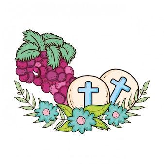 Sainte hostie communion avec des raisins