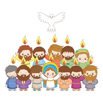 Sainte marie et disciples avec dessin animé saint-esprit. illustration vectorielle