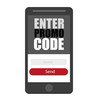 Saisir le code promotionnel. icône de smartphone vecteur plat et forme ui ux, symbole, illustration de conception sur fond blanc
