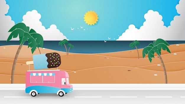 Saison d'été, vacances, concept de voyage papier coupé style.