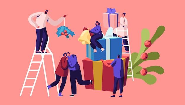Saison de fête d'hiver, vacances de noël célébrant le concept. personnages de personnes minuscules décorent la maison, illustration plate de dessin animé
